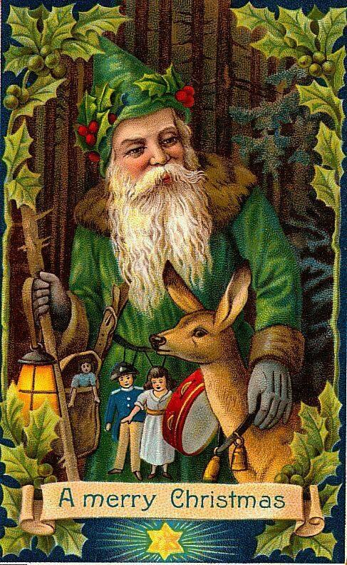Papá Noel, vestido de verde