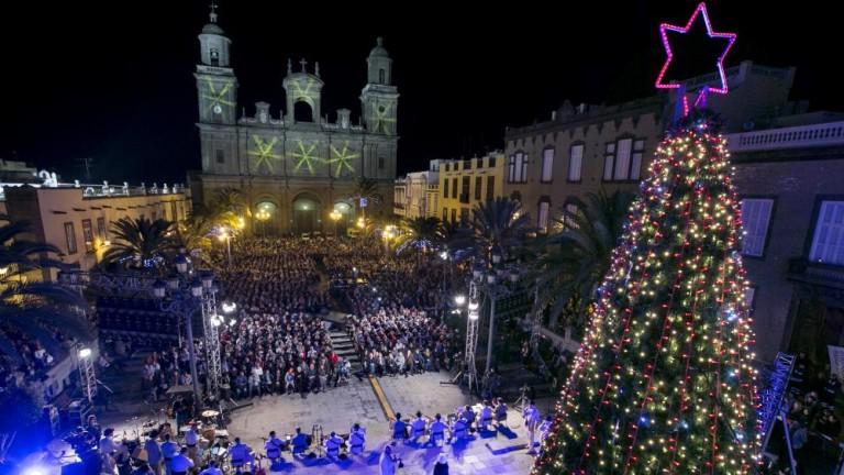 Plaza de Gran Canaria, decorada para Navidad