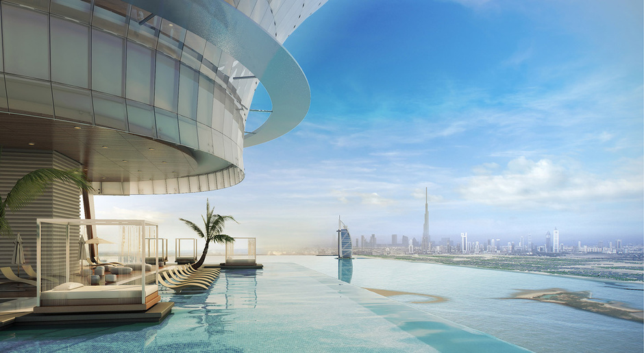 Recreación de la piscina más alta del mundo, en Dubai.
