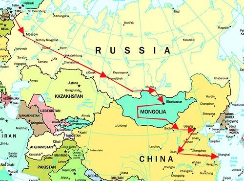 Recorrido del tren transmongoliano.